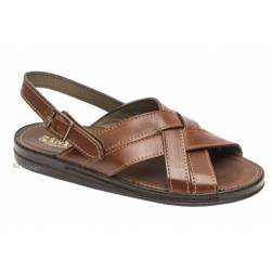 Cross leather sandal with...