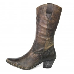 Brown leather boot with...