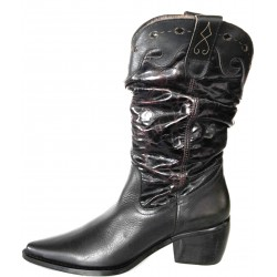 Leather boot in black Cuban...