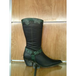 Green leather cowboy boots