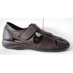 Brown leather sandal with...