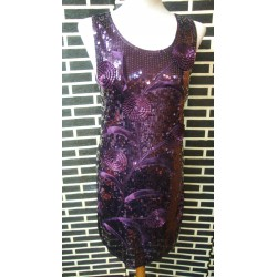 Sequined party dress in purple