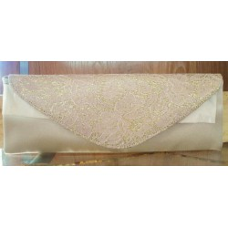 Satin evening bag beige lace