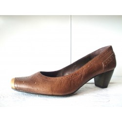 Brown leather slingback pumps